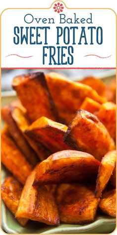 These oven baked sweet potato fries are so addictive! Wedges of sweet potatoes, tossed with oil, sprinkled with spices, and baked at high heat until browned and crispy at the edges. Sweet Potato Wedges Oven, Oven Fried Potatoes, Baked Potato Fries, Vegetable Side Dishes, Vegetable Ideas, Veggie Side, Simply Recipes, Fries In The Oven, Recipes