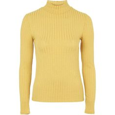 TOPSHOP Ribbed Funnel Neck Top ($25) ❤ liked on Polyvore featuring tops, sweaters, mustard, beige top, mustard sweater, mustard yellow top, beige sweater and mustard top