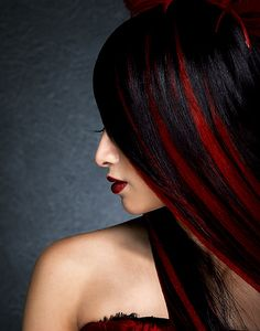 Rethinking my bright red hair - black with red streaks? Love the hair color Hair Color For Black Hair, Dark Hair, Red Black Hair, Black Ombre, Red Streaks, Beautiful Hair Color, Hair Tattoos, Haircut And Color, Hair Highlights