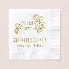 Gold foil scroll leaf floral wedding Thank You Paper Napkin