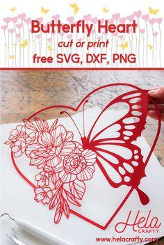 Butterfly Heart-cut and print file. Cricut Cards, Cricut Vinyl, Vinyle Cricut, Image Svg, Cricut Svg Files Free, Cricut Craft Room, Cricut Tutorials, Cricut Creations, Kirigami