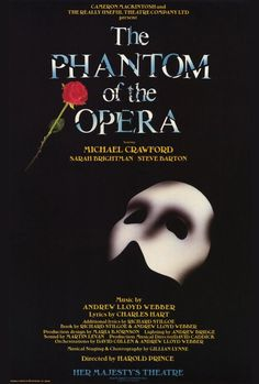 """CAST: Michael Crawford, Sarah Brightman; PRODUCER: Andrew Lloyd Webber; Features: - 27"""" x 40"""" - Packaged with care - ships in sturdy reinforced packing material - Made in the USA SHIPS IN 1-3 DAYS"""