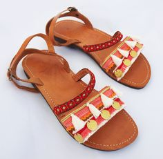 ON SALE Greek sandals,leather sandals,tassels sandals,cotton fringe,satin lace,sandals,metallic coins,handmade sandals,boho sandals,strap sa - £71.20 GBP