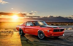 Ford Mustang, 1968, Classic cars, orange mustang, retro cars, sunset