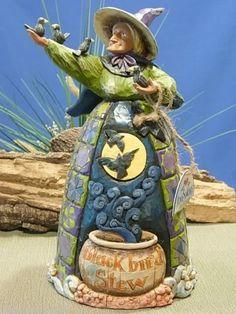 "Jim Shore Halloween ""Black Bird Stew"" Witch w/Black Birds"" 118104 New in Box"