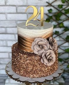 30th Birthday Cake For Women, 24th Birthday Cake, Elegant Birthday Cakes, Beautiful Birthday Cakes, Adult Birthday Cakes, Beautiful Cakes, Amazing Cakes, Girly Cakes, Cute Cakes