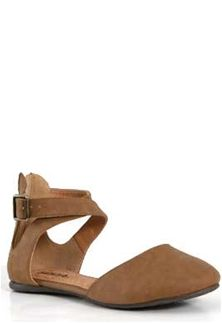 Soda Shoes Kiner Flat with Open Side Ankle Strap in Tan