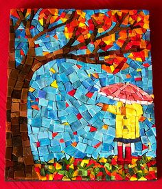 Autumn Leaves by artist Stephanie Beta Murphy Mosaic Wall Art, Mosaic Tiles, Stone Mosaic, Mosaic Glass, Paul Klee, Mosaic Birdbath, Mosaic Animals, Mosaic Pictures, Mosaic Madness