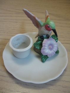 Figurine Humming Bird On Branch Up Raise Flowers & Leaves Candle Stick Holder