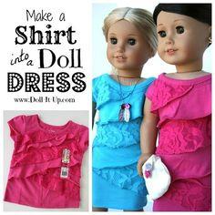 Tutorial: Ruffled shirt doll dress refashion