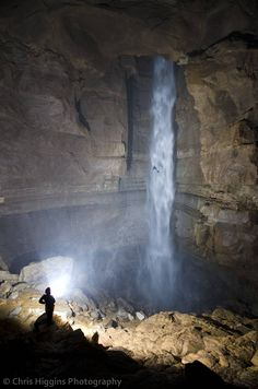 247' Massive Waterfall In a Tennessee Cave -    Take note, there is a person canyoneering in the middle of that waterfall, just to give you an idea of how massive it is! You may need to click on picture to make it big enough to see the person in the midst of the water.