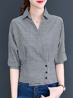 Turn Down Collar Decorative Buttons Checkered Blouses – wanokitty Blouse Styles, Blouse Designs, Cheap Womens Tops, Cream T Shirts, Ladies Dress Design, Shirt Blouses, Blouses For Women, Casual, Fashion Outfits