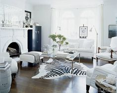 Animal Rugs For Living Room Best Granite Colors India 60 Zebra Rug Rooms Images Accent An All White With A Striking Pattern Here Print Makes Dramatic Focal Point In This Elegant