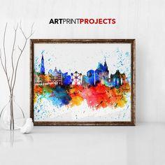 Brussels watercolor skyline print poster Bruxelles