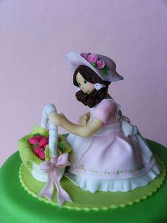 Little strawberry girl cake.Detalles de la niña.