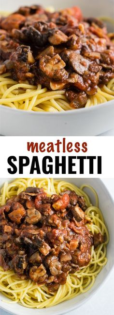 Easy meatless spaghetti sauce recipe made with mushrooms- Look for vegan spaghetti sauce.
