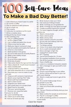 Spruce up your self care routine with these 100 top self care tips and tricks! Add each of these habits into your daily routine to start living a happier, healthier, more stress-free life! Positive Mantras, Positive Thoughts, Positive Attitude, Happiness Challenge, Glow Up Tips, Brain Dump, Self Care Activities, Self Improvement Tips, The Glow Up