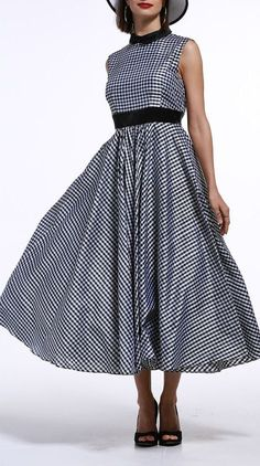 Checked Back Zippered Dress