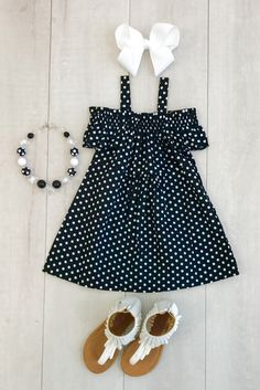 Black with White Polka Dot Off-Shoulder Dress Great in poka dots. Little Girl Outfits, Cute Outfits For Kids, Little Girl Dresses, Toddler Outfits, Girls Dresses, Baby Girl Fashion, Kids Fashion, Baby Dress Design, Kids Frocks