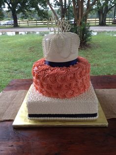 Wedding cake Mr.&Mrs. Coral and Navy  rosettes