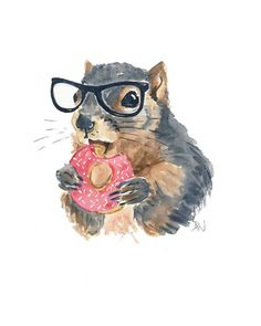 Original Squirrel Watercolour Painting Nerd by WaterInMyPaint, $49.00