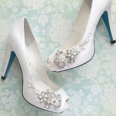 Something Blue Wedding Shoes with Handmade Crystal Blossom  #weddbook #wedding #shoes #fashion #bride