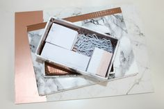 Marble & Copper Sticky Notes Holder