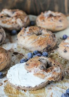 These homemade Blueberry Bagels have a sweet blueberry flavor and toast up beautifully! You'll love having fresh bagels for breakfast, and they take less than 2 hours to prepare.