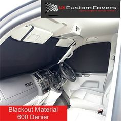 Covers front windscreen and both side windows. Volkswagen Transporter, Vw T5, Mercedes Sprinter, Campervan Curtains, Vw Camper Conversions, Motorhome Parts, Van Camping, Camping Hacks, Cool Campers
