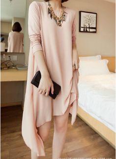 NEW FASHION LADIES' ELEGANT CHIFFON MODAL SPLICING TWO PIECE DRESS IRREGULAR HEM O NECK LONG SLEEVE CASUAL STYLISH DRESS 1450