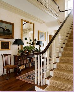 interior design musings  sisal runner, dark bannister