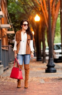 cute & little blog   petite fashion   suede vest, white button down shirt, distressed jeans, suede otk boots, red purse   fall outfit