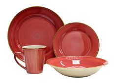 Amazon.com | Thomson Pottery 16-pc. Sedona Dinnerware Set: Thompson Pottery Dinnerware Red: Dinnerware Sets