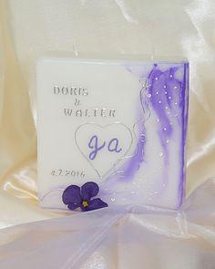 Hochzeitskerze eckig lila Lilac, Candles, Gifts, Dekoration