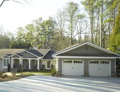 Note similar style. Garage to right of porch remodeled into mudroom/apartment. Add new garage, bringing it forward. Roof peak to the front to offset other peaks on house Exterior Color Schemes, Exterior Paint Colors For House, Paint Colors For Home, Paint Colours, Ranch Exterior, Exterior Remodel, Ranch House Remodel, House Makeovers, Brick Ranch