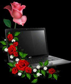 Black laptop & Roses Background~~J Laptop Wallpaper, I Wallpaper, Mobile Wallpaper, Borders For Paper, Borders And Frames, Background Images For Editing, Paper Background, Photo Frame Download Free, Creative Flower Arrangements