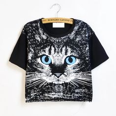 """Black cat crop top Bust: 33.2"""" Shoulder:17.3"""" Length:17.7"""" Sleeve length:6.6"""". Please use similar clothing to compare with the size and allow 1-2cm differs due to manual measurement, no trades  bindles accepted Tops Crop Tops"""