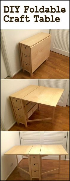 Create your own space-saving craft station by building this DIY foldable craft table! Create your own space-saving craft station by building this DIY foldable craft table! Diy Furniture Plans, Diy Furniture Projects, Furniture Design, Table Furniture, Building Furniture, Apartment Furniture, Bedroom Furniture, Apartment Kitchen, Furniture Stores