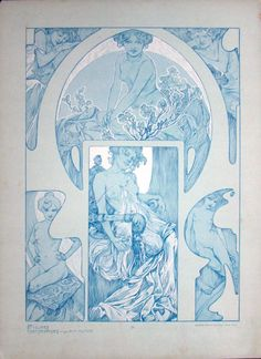 "fuckyeahvintageillustration: ""'Figures Décoratives' by Alphonse Mucha. Published 1905 by Librairie Centrale des Beaux Arts, Paris. ""This beautiful folio reflects Alphonse Mucha's mastery of the female form. As Art Nouveau's most influential artist,..."
