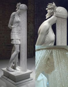 malformalady:  The statue of a young woman, facedown and veiled by a stream of glass crystal beads, is an interesting work of art known as Ghost Girl  by London-based sculptor Kevin Francis Gray. Presented on a pedestal  like a classic Greek sculpture, the marble figure offers a somber look  at a modern young woman.This contemporary piece, like much of Gray's  work, has a hint of secrecy and surrealism to it. When the beaded veil  is pulled back, it is revealed that a skeletal face lies…