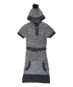 Look at this #zulilyfind! Dollhouse Black & White Marled Hood Sweater Dress - Girls by Dollhouse #zulilyfinds