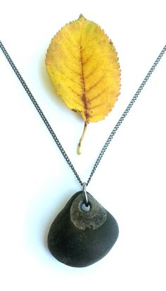 Black river rock necklace for grounding in nature. - Authentic Arts | Natural Jewelry by Jenny Hoople