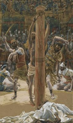 The Scourging on the Back by Tissot {illustration from 'The Life of Our Lord Jesus Christ' ~ w/c over graphite on paper Religious Pictures, Bible Pictures, Jesus Pictures, Religious Art, Life Of Jesus Christ, Jesus Lives, Flagellation, Crucifixion Of Jesus, Jesus Art