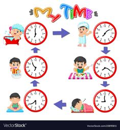 Little girl does daily routine set Royalty Free Vector Image Daily Routine Activities, Time Activities, Free Vector Images, Vector Free, Vector Clipart, Math Clock, Math For Kids, Barbie World, Different