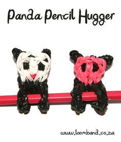 Panda Pencil Hugger Loom band tutorial - Loomband