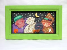 Halloween Trick or Treaters, Frankenstein, Mummy, Black Cat, Witch, Hand Crafted,Hand Painted on Black Screen Framed in Reclaimed Wood Frame - pinned by pin4etsy.com