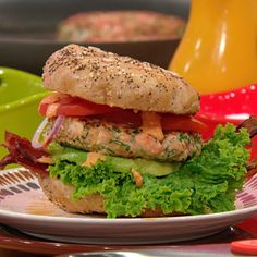 BLAST Burgers (Bacon, Lettuce, Avocado, Salmon and Tomato Burgers with ...