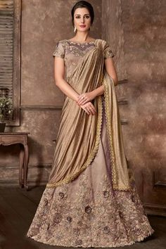Buy Online Jari Embroidery With Sequence & Stone Work Beige Tafeta Art Silk Lehenga Choli with Jari Embroidery With Sequence & Stone Work Beige Choli and Embroidery Work Tafeta Art Silk Dupatta custom made for you at Shopkund in Bristol UK Lehenga Choli Wedding, Brocade Lehenga, Lehenga Style Saree, Lehenga Skirt, Party Wear Lehenga, Lehenga Choli Online, Sarees Online, Saree Blouse, Robes Western