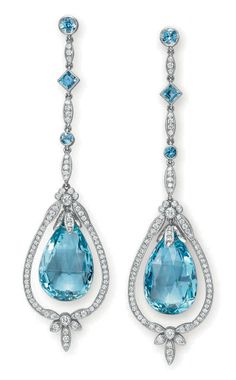 Aquamarine and diamond pendant earrings by Tiffany & Co., Christie's Emerald and Diamond Cocktail ring from top: Martin Katz white gold,. Diamond Pendant, Diamond Earrings, Drop Earrings, Tanzanite Earrings, Diamond Stud, Diamond Jewellery, Vintage Jewellery, Tiffany Bangle, Tiffany Jewelry