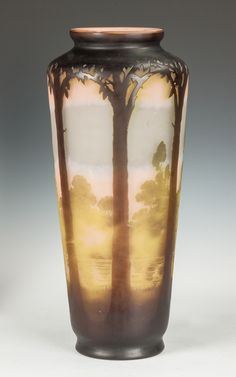 Sold: 3200 US May 2015 regaloMonumental Galle Fire Polished Cameo Vase with Lake Scene & Trees | Cottone Auctions